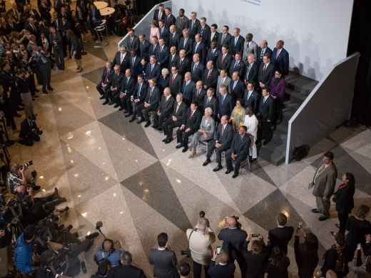 G20 Finance Ministers and Central Bank Governors pose for a formal family photo during the 2017 IMF/World Bank Annual Meetings. (IMF Photo/Ryan Rayburn)