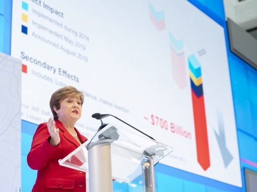 International Monetary Fund Managing Director Kristalina Georgieva speaks at the 2019 IMF Annual Meetings Curtain Raiser on October 8, 2019. (IMF Staff Photo/Stephen Jaffe)