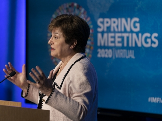 International Monetary Fund Managing Director Kristalina Georgieva holds a press conference during the virtual 2020 spring meetings on April 15, 2020 in Washington, DC. (IMF Photo/Joshua Roberts)