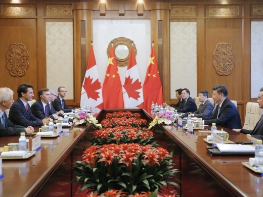 China's President Xi Jinping and Canada's Prime Minister Justin Trudeau hold their meeting at the Diaoyutai State Guesthouse in Beijing, China on Aug. 31, 2016. (Wu Hong/Pool Photo via AP)