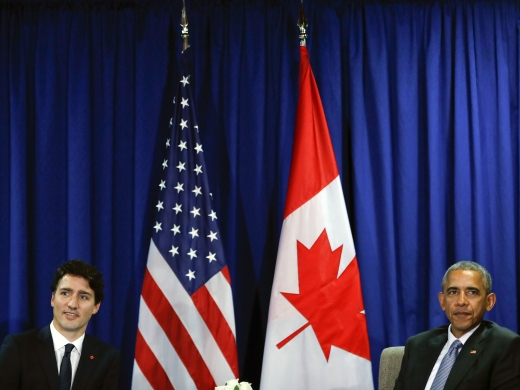 US President Barack Obama, right, sits with Canada's Prime Minister Justin Trudeau  / AP Images