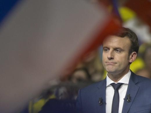Presidential candidate Emmanuel Macron in Lyon, France (AP Photo/Michel Euler)