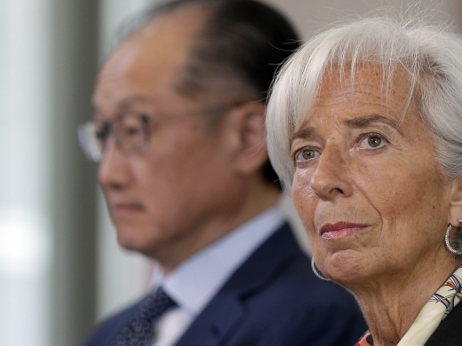 Managing Director of the International Monetary Fund Christine Lagarde and World Bank President Jim Yong Kim (AP Photo/Michael Sohn)