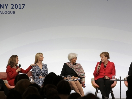 Canada's Foreign Minister Chrystia Freeland, Ivanka Trump, daughter and adviser of US President Donald Trump, International Monetary Fund Managing Director Christine Lagarde and German Chancellor Angela Merkel at W20 Summit in Berlin (AP Photo/Markus Schreiber)