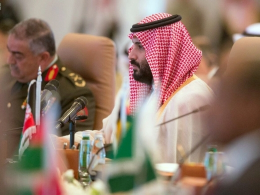 Saudi Crown Prince Mohammed bin Salman speaks at a meeting of the Islamic Military Counterterrorism Alliance. (Saudi Press Agency via AP)