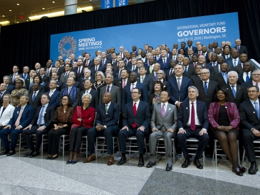 International Monetary Fund (IMF) Governors gather for a group photo during World Bank/IMF Spring Meetings in Washington on April 21, 2018. ( AP Photo/Jose Luis Magana)