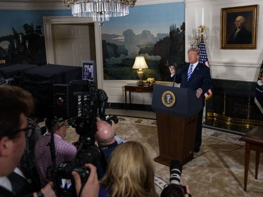 President Donald Trump delivers a statement on the Iran nuclear deal from the Diplomatic Reception Room of the White House on May 8, 2018 in Washington. (AP Photo/Evan Vucci)