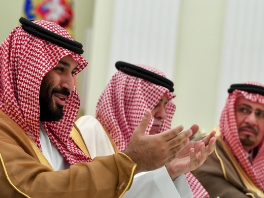 Saudi Arabia Crown Prince Mohammed bin Salman, left, gestures while speaking to Russian President Vladimir Putin during their meeting in Moscow. (Yuri Kadobnov, Pool Photo via AP)