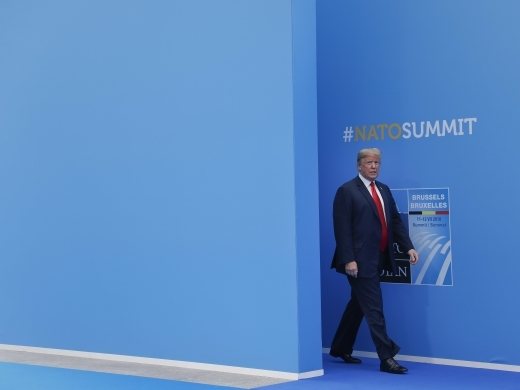 President Donald Trump at NATO headquarters on July 11, 2018. (AP Photo/Pablo Martinez Monsivais)