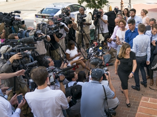 Canadian Foreign Affairs Minister Chrystia Freeland speaks to members of the media as she arrives at the Office of the United States Trade Representative, August 28, 2018, in Washington. (AP Photo/Andrew Harnik)