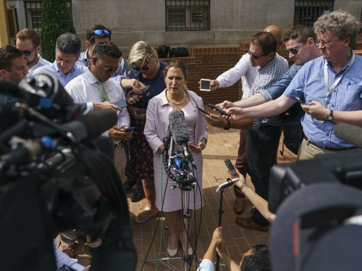 Canadian Foreign Affairs Minister Chrystia Freeland speaks to the media outside the Office Of The United States Trade Representative in Washington on September 20, 2018. (AP Photo/Carolyn Kaster)