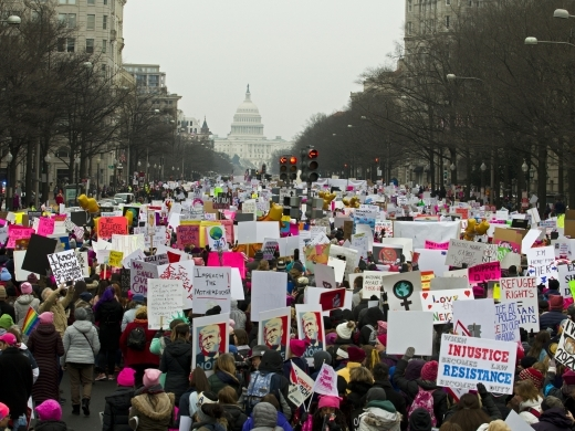 Demonstrators march on Pennsylvania Av. during the Women's March in Washington on January 19, 2019. (AP Photo/Jose Luis Magana)