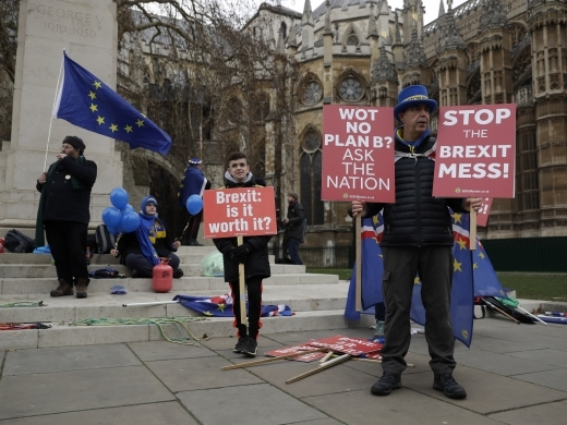 Demonstrates opposite the Houses of Parliament in London on January 21, 2019. (AP Photo/Matt Dunham)