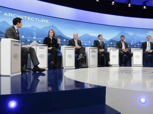 "Andrew R. Sorkin moderates a panel titled ""Shaping a New Market Architecture"" at the World Economic Forum in Davos, Switzerland, on January 22, 2019. (AP Photo/Markus Schreiber)"