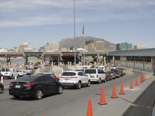 Vehicles from Mexico and the United States approach a border crossing in El Paso, Texas on April 1, 2019. (AP Photo/Cedar Attanasio)