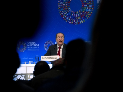 World Bank President David Malpass speaks at a news conference during the World Bank/IMF Spring Meetings in Washington, on April 11, 2019. (AP Photo/Jose Luis Magana)