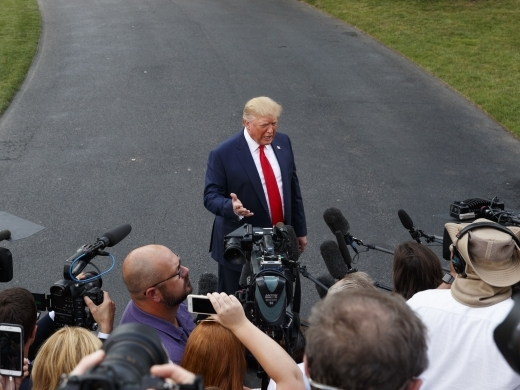 President Donald Trump speaks to media as he leaves the White House in Washington on August 1, 2019. (AP Photo/Carolyn Kaster)