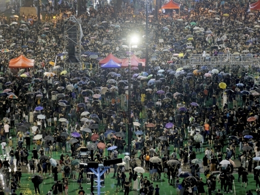 Protesters attend a rally at Victoria Park in Hong Kong on August 18, 2019. (AP Photo/Kin Cheung)