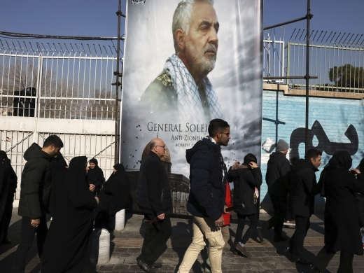 Mourners walk back from a funeral ceremony for Iranian Gen. Qassem Soleimani (AP Photo/Vahid Salemi)
