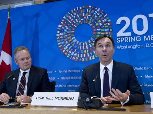 Canadian Finance Minister Bill Morneau with Bank of Canada Governor Stephen Poloz ( AP Photo/Jose Luis Magana)