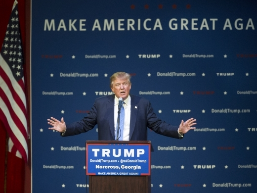 Republican presidential candidate Donald Trump speaks during a campaign rally, Saturday, Oct., 10, 2015. (AP Photo/John Amis)