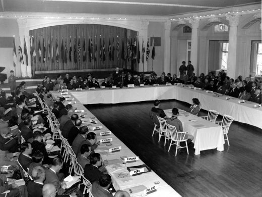 A plenary session of the United Nations Monetary Conference in Bretton Woods, New Hampshire on July 4, 1944. (AP Photo/Abe Fox)