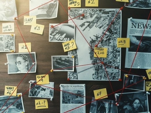 Wall board with pinned photos and evidence relating to an investigation
