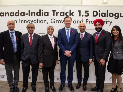 At the reception for the Canada-India Track 1.5 Dialogue - (left to right) CIGI President Rohinton Medhora, Ambassador Rajiv Bhatia, High Commissioner Vikas Swarup, the Honourable Bill Morneau, High Commissioner Nadir Patel, the Honourable Navdeep Bains, the Honourable Bardish Chagger