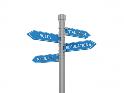 sign post showing rules, guidelines, standards and regulations