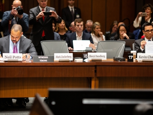 Seats for Facebook's Mark Zuckerberg and Sheryl Sandberg remain empty at the Grand Committee on Big Data, Privacy and Democracy hearing in Ottawa. (CIGI Photo)