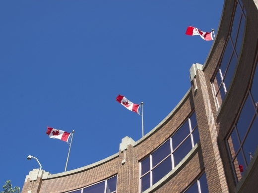 Canadian flags on a building