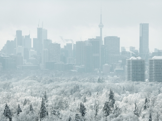 Toronto under ice and fog