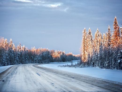 Empty road in the North American Arctic
