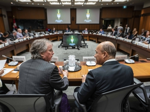 Jim Balsillie and former Facebook advisor Roger McNamee at the International Grand Committee on Big Data, Privacy and Democracy on May 27, 2019. (CIGI Photo)