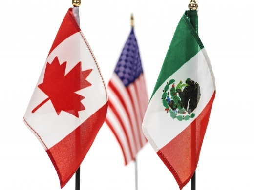 Canadian, Mexican and US flags