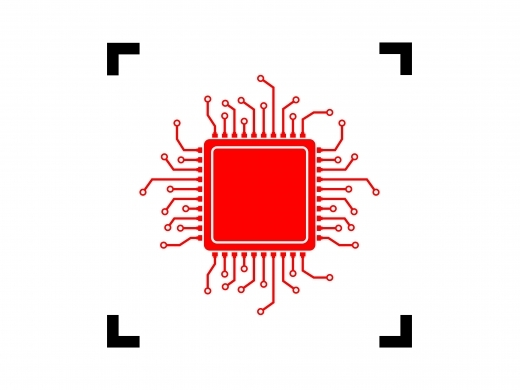 CPU microprocessor illustration (red icon inside black focus corners on white background)