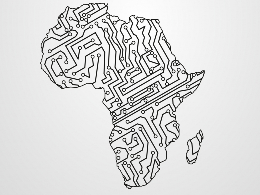 Circuit board in the shape of Africa