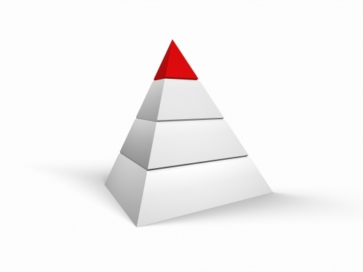 white pyramid with red top