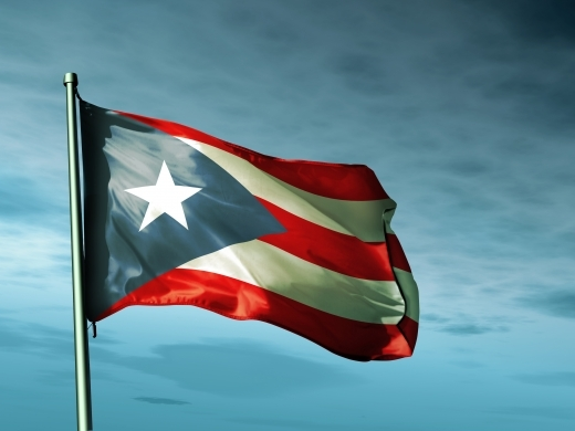 Puerto Rican flag waving in the wind
