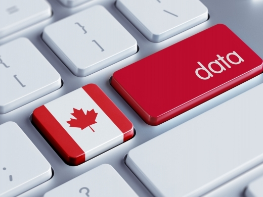 Key board showing Canadian flag and data on keys
