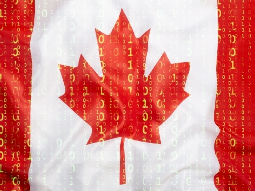 Data protection, binary code with Canada flag