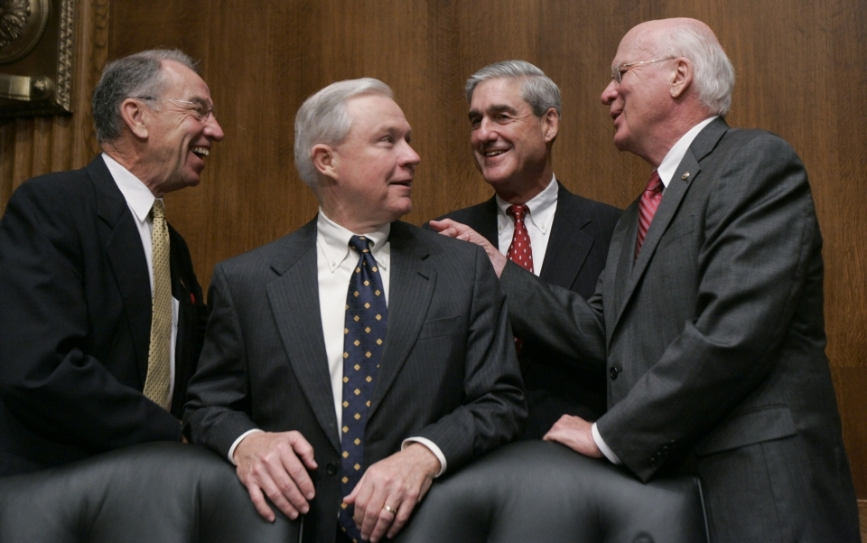 Senate Judiciary Committee Committee member Patrick Leahy, right, talks with, from left, Senator Charles Grassley, then-Senator Jeff Sessions, and then-FBI Director Robert Mueller on Capitol Hill in 2009, prior to Mueller testifying before the committee's FBI oversight hearing (AP Photo/Susan Walsh)