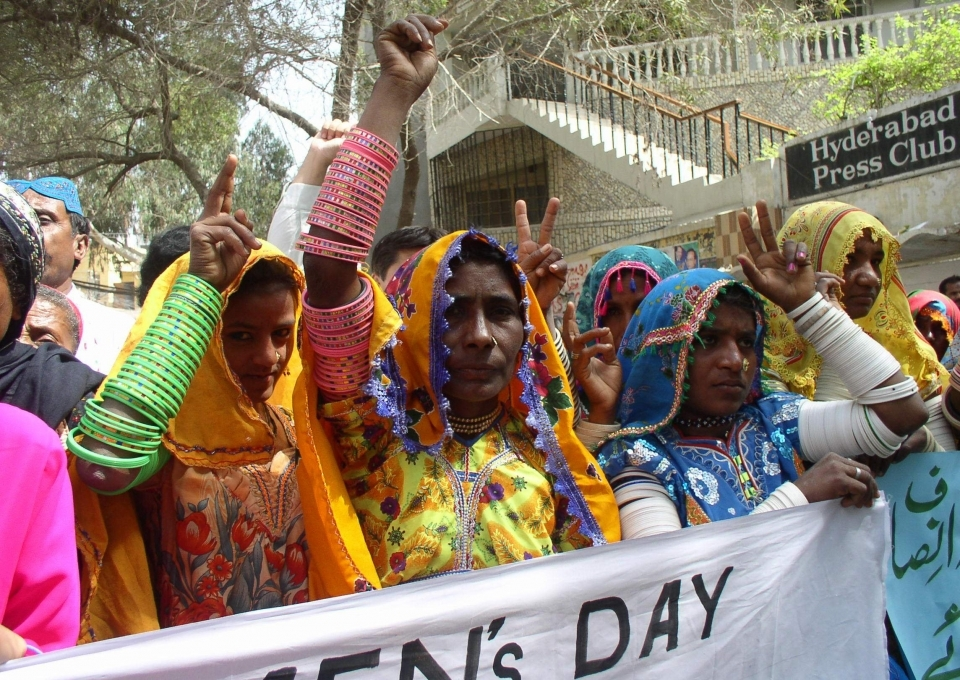 Protesters near Karachi, Pakistan demand women's empowerment ahead of International Women's Day. (AP Photo/Pervez Masih)