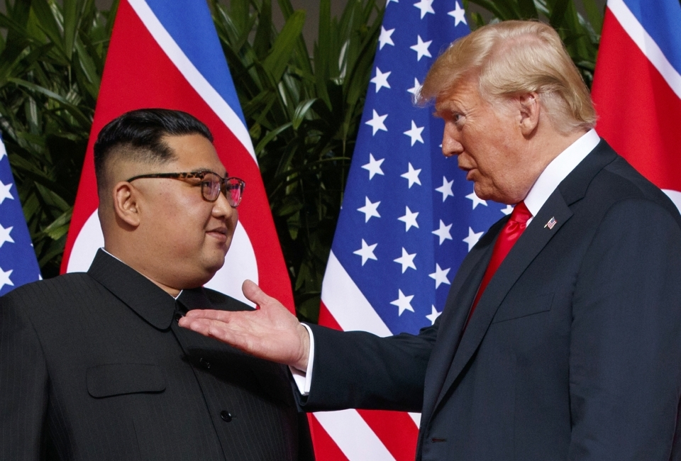 US President Donald Trump meets with North Korean leader Kim Jong-un on Sentosa Island in Singapore. (AP Photo/Evan Vucci, File)