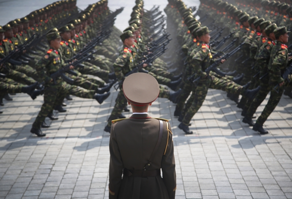Soldiers march across Kim Il Sung Square during a military parade on April 15, 2017, in Pyongyang, North Korea. (AP Photo/Wong Maye-E)