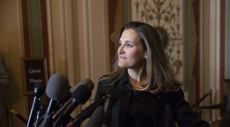 Canadian Minister of Foreign Affairs Chrystia Freeland speaks with reporters after meeting with the US Senate Foreign Relations Committee on June 13, 2018.
