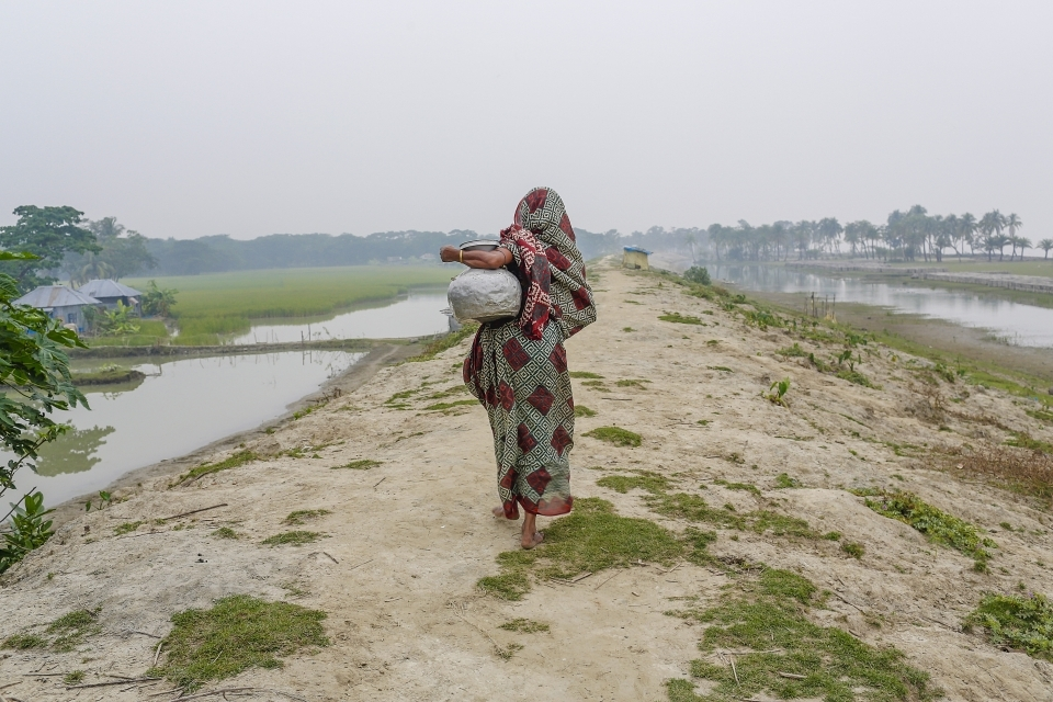 A woman walks on a dam built by the government in the island district of Bhola, where the Meghna River spills into the Bay of Bengal, Bangladesh. (AP Photo/Shahria Sharmin)
