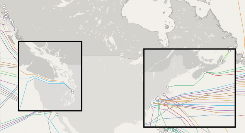 "Source: TeleGeography, ""Submarine Cable Map,"" www.submarinecablemap.com."