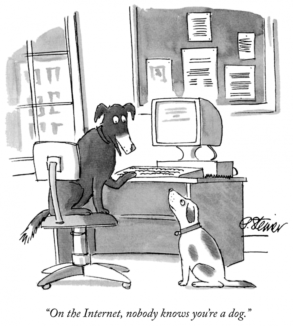 A cartoon published in The New Yorker in 1993 suggested that the internet provided anonymity. Today we know otherwise, as huge amounts of personal data are collected and stored, raising concerns about privacy. (Source: Peter Steiner/The New Yorker Collection/The Cartoon Bank)