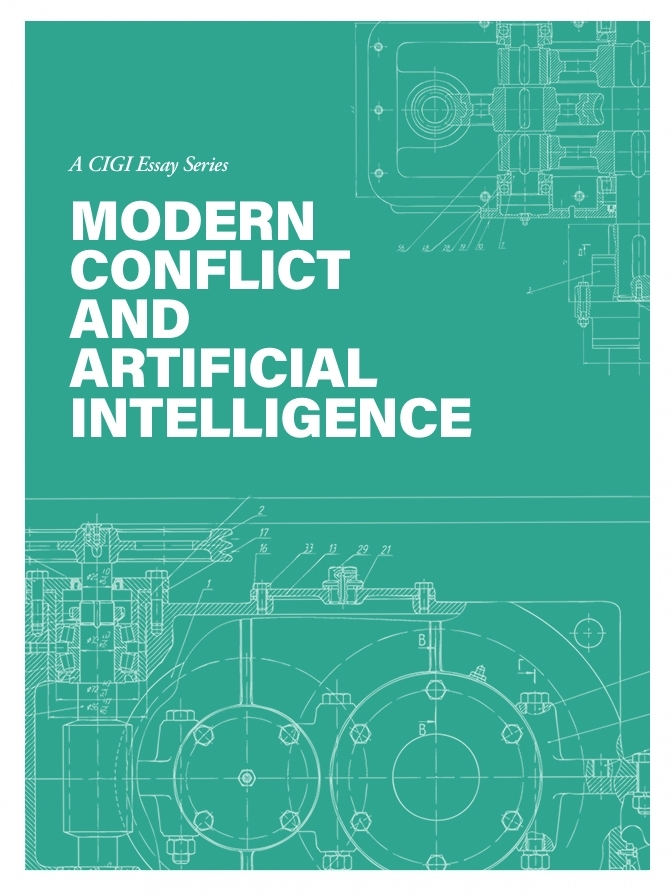 Modern Conflict and Artificial Intelligence essay series' front cover image